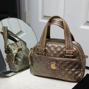 MARC JACOBS quilted genuine leather satchel ursula